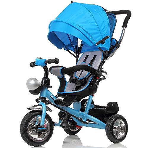 BAKAJI Triciclo Passeggino per Bambini a Pedali e Spinta 3in1 con Sediolino Girevole a 360 Gradi...