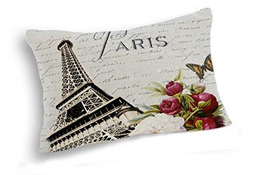 telisha estilo Retro París Torre Eiffel flor mariposa decoración del hogar Cojín con funda de almohada Sham 50 x 30cm