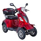 Scooter Électrique 4 Roues Senior/Pour Handicapés Scooter Électrique Adultes 1000W 25km/h ROUGE