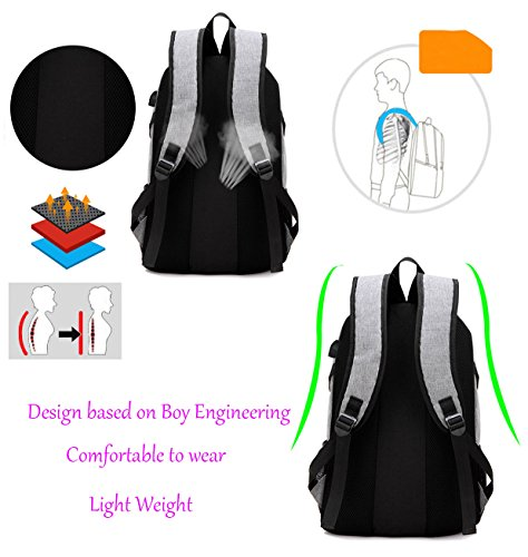Super Modern Unisex Nylon School Backpack with USB Charger Port ... 1824170471