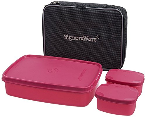 Signoraware Compact Lunch Box with Bag, Pink