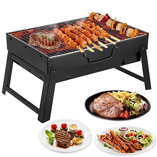 Mbuynow BBQ Barbecue à Charbon de Table en Acier Inoxydable Pliable Four Grille de Cuisson Démontable pour Barbecue de Jardin extérieur Camping et Pique Nique