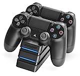 snakebyte PS4 TWIN:CHARGE Ladegerät - Twin Docking Station - Zum Aufladen von zwei Dualshock 4 Controllern - schwarz - für PlayStation 4