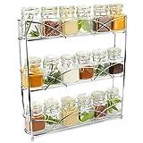Maison & White Organizador de racks de hierbas y especias de 3 niveles | Diseño moderno antideslizante independiente | Diseño universal | Solución de almacenamiento de cocina y despensa Cromo