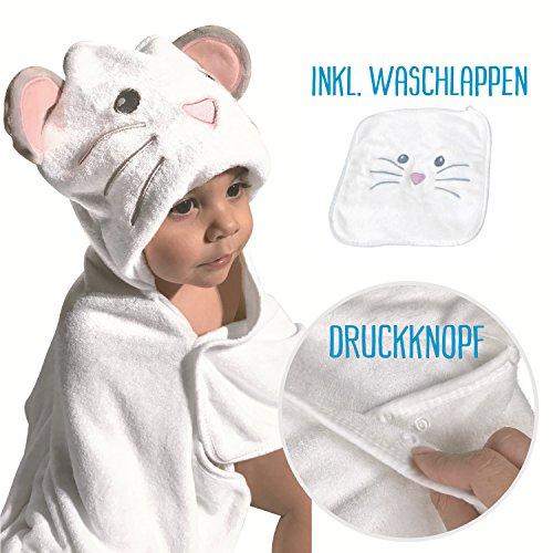 HECKBO® Baby Handtuch Kapuze Maus + gratis Waschlappen | 0-6 Jahre | Neuheit: 2 Druckknöpfe zum flexiblem Verschließen | aus weicher Bambuswolle | Größe: 90x100cm | Kinder Badetuch