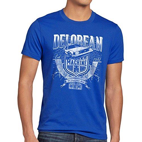 style3 Outa Time T-shirt da uomo delorean ritorno futuro, Dimensione:XL, Colore:blu