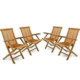 DIVERO 4er-Set Klappstuhl Teakstuhl Gartenstuhl Teak Holz Stuhl mit Armlehne für Terrasse Balkon