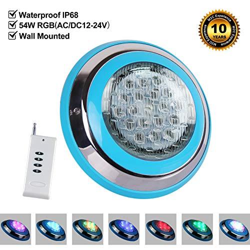 Roleadro 54w LED Poolbeleuchtung RGB IP68 Edelstahl Schale,Unterwasser Led Pool mit Fernbedienung für Schwimmbad ersatz 250W Halogen Scheinwerfer [DC/AC 12-24V]