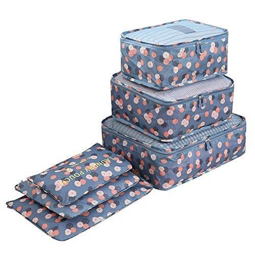 BlueBeach Set di 6 Organizzatori di viaggio imballaggio cubi di lavanderia sacchetto dei bagagli...