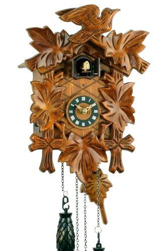 Eble Orologio a cucù al quarzo, in vero legno, funzionamento a batteria, con carillon musicale, motivo con 5 foglie, 30 cm