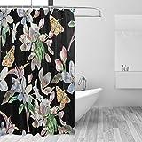 Cortinas de ducha impermeable moho a prueba de molde resistente al Vintage mariposa floral impreso lavable polyseter cortina de baño con ganchos resistente para baño decoración accesorios 66x 72inch