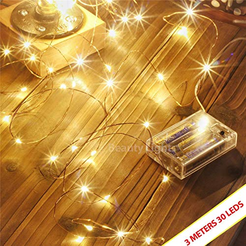 LTETTES Copper String Lights 3 AA Battery Operated Portable LED String Lights, Fairy Lights Decoration Party Wedding Diwali Christmas Lights (3 Meters 30 LED)