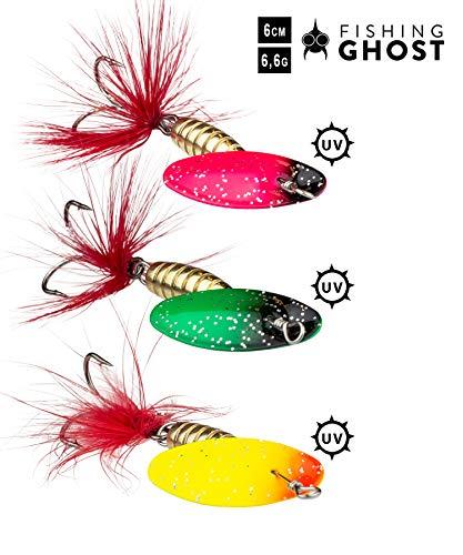 FISHINGGHOST SPINNYone Set - Lunghezza: 6 cm - Peso: 6,5 g,Spinner Set - Spinner Bait, Esche Artificiali per la Pesca di Lucci, persici, trote e Walleye (3X)