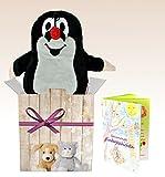 Warmies Set de regalo el pequeño topo, Original de peluche, Térmica de peluche con aroma lavanda, cojín de calor + Puede regalo del paquete + Librito con Emocionantes kindergesc hichten