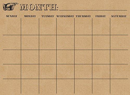 Wallpops - Calendario mensile cancellabile da Parete, in Carta Kraft
