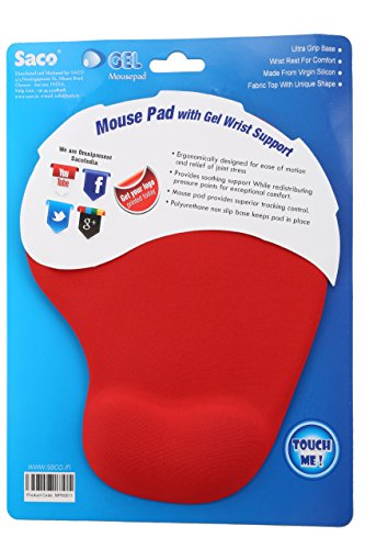 Saco Ergonomic Mouse Pad with Gel Wrist Rest, Comfortable Mousepad with Non-Slip PU Base, Pain Relief Mouse Pads for Computers, Laptop, Mac, Home & Office - Red