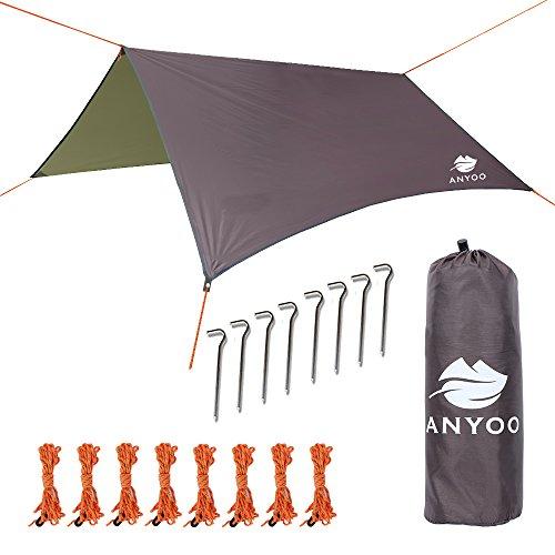 Anyoo Tarp Shelter Impermeable Ligera Hamaca Rain Fly 3 X 3 m Tienda de campaña Sunshade Ripstop Easy Setup Durable portátil Bueno para IR de excursión Mochilero Viajes