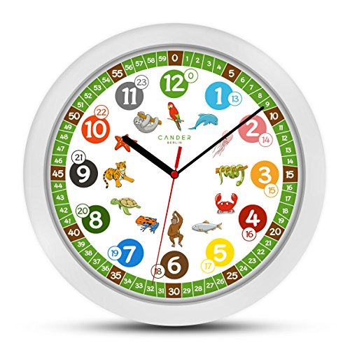 Cander Berlin, orologio da parete per bambini, diametro 30,5 cm, con meccanismo anti-ticchettio e design con colori allegri, per imparare a leggere l'ora, MNU 1330