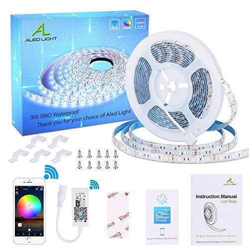 Wifi Striscia LED 5M, ALED LIGHT LED Striscia Impermeabile 5050 5M RGB SMD 300 Luci Strip Light Full...