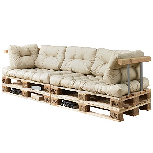 [en.casa] Divano paletta euro-sofá - a 3 posti con cuscino - [crema] set completo incl. bracciolo e schienale