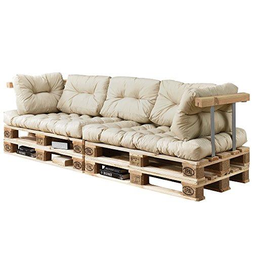 [en.casa] Divano paletta euro-sofá - a 3 posti con cuscino - [crema] set completo incl. bracciolo e...