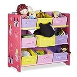 Relaxdays Funny Estantería/Mueble para dormitorio infantil, madera, rosa, 30x 65x 63cm