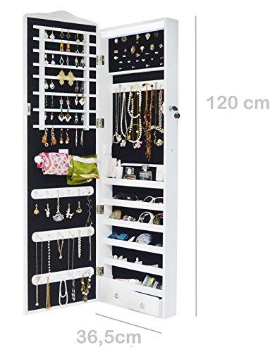 Intirilife – Eleganter Hänge-Schmuck-Schrank mit LED Beleuchtung, abschließbarer Spiegeltür mit 2 Schubladen und Haken für Ketten, Ohrringe, Schmuck in Weiss - 5
