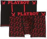 Playboy Classic Cool Shorty Homme Noir (Noir Rouge/Imprime Cœur) Large (Taille Fabricant: L) 2lot de2