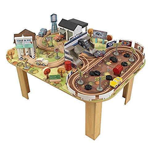 KidKraft 17209 Disney® Pixar Cars 3 Set tavolo e circuito in legno Thomasville con 73 pezzi inclusi