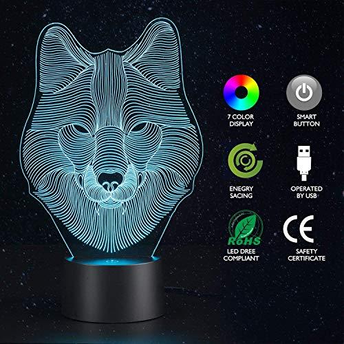 Lupo Lume da tavolo illusione 3D Luci 7 colori Lampeggiante USB Powered Touch Switch Camera da letto...