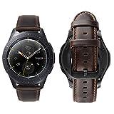 iBazal Correas 20mm Cuero Piel Pulseras Bandas Compatible con Galaxy Watch 42mm/Active 40mm/Huawei Watch 2/Gear S2 Classic/Gear Sport/Ticwatch 2/E/Moto/Pebble/Nokia Hombres(Reloj No Incluido) - Café