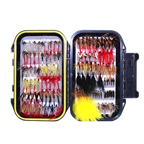 Croch 120 Pz Pesca Mosche Artificiali Esche Set con Custodia Impermeabile per Trota