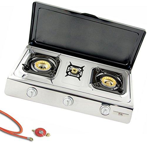 NGB 300C Fornello a gas in acciaio inox di alta qualità, 3fuochi con coperchio 10KW LPG...