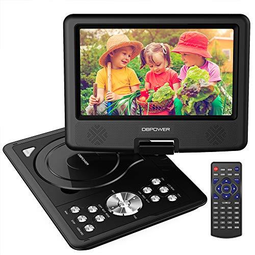 DBPOWER 9.5\'\' Tragbarer DVD-Player mit Wiederaufladbarer Batterie, Schwenkbaren Bildschirm, Unterstützt SD-Karte und USB, mit Spiele-Joystick, Auto-Ladegerät-Schwarz