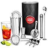 Barman's Barware Kit by bar@drinkstuff Cocktail Gift Set with Boston Cocktail Shaker Tin & Glass, Jigger Measure, Muddler, Twisted Mixing Spoon, Pourers, Hawthorne Cocktail Strainer, Julep Cocktail Strainer & Conical Cocktail Sieve