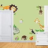 Pegatina de pared vinilo adhesivo decorativo para cuartos, dormitorios,cocina,sala de estar ...Animales juegan en el ZOO con elefante, leon,ardilla, mono ... de MFEIR