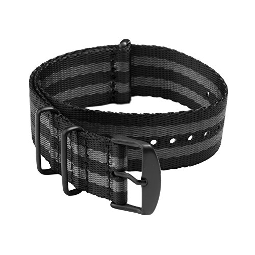 Archer Watch Straps | Cinturini NATO in nylon di altissima qualità stile cintura di sicurezza | Cinturini di ricambio resistenti tipo militare | Nero e Grigio (James Bond)/Metallo nero, 20mm