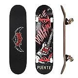 NACATIN Skateboard Completo para Adultos y Niños con Rotamiento 608 ABEC-9, 92A y 8 Capas de Madera de Arce Monopatin 80x20x11cm, Carga de 180 Kg para Principiantes y Profesionales Negro
