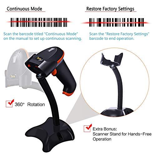 Tera Kabellos Barcode Scanner Wireless 1D mit Ständern 2.4 GHz und USB-Kabel Handscanner 100m Reichweite 3 Mil Auflösung 32-Bit-Decoder P54 mit Anleitung in Deutsch