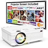 QKK Projector 4500 Lumen Video Projector 1080P Full HD Supported [Projection Screen Included] Mini Projector Compatible with TV Stick, PS4, HDMI, VGA, SD, AV and USB, Home Theater Projector, White.