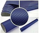 3,22/m² 3D Carbon Folie - BLAU - 100 x 152 cm selbstklebend flexibel Car Wrapping Folie