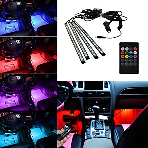 BRTLX Kit luci decorative a LED per interni a luce decorativa per interni auto RGB 12V 4 x 18 LED...