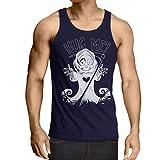 lepni.me Camisetas de Tirantes para Hombre ¡La muerte viene! Ropa de Halloween esqueleto, malvada hoz de cráneo (X-Large Azul Multicolor)