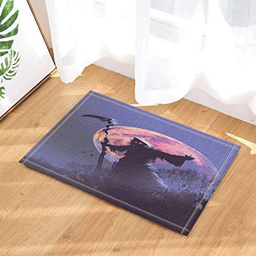 SRJ2018 Decoración de Pintura de Halloween Muerte con guadaña de pie con alfombras de baño de Luna Llena Felpudo Antideslizante para Interiores 60X40 CM