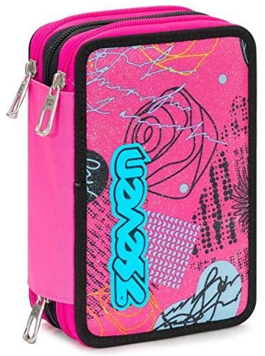 Astuccio 3 Zip Seven Shiny Girl, Rosa, Con materiale scolastico: 18 pennarelli Giotto Turbo Color,...