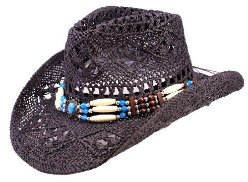 Schwarzer Strohhut, Westernhut, Cowboyhut mit breiten dekorativen Hutband (L (Gr.57-59))