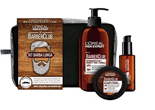 L'Oréal Paris Men Expert Barber Club Kit Barba Lunga, Pochette con Detergente 3-In-1 Barba-Viso-Capelli, Olio Disciplinante e Styling Cream