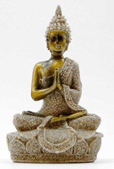 Figura de Buda meditando, tallada mano en arenisca, 9,5cm