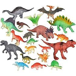 20 Piezas de Dinosaurios de Figuras Realistas Conjunto de Juguetes de Dinosaurios Playset Incluye 8 Pieza de Dinosaurios Grandes y 12 Piezas de Mini Dinosaurios para Niños, Estilos y Colores Multiples