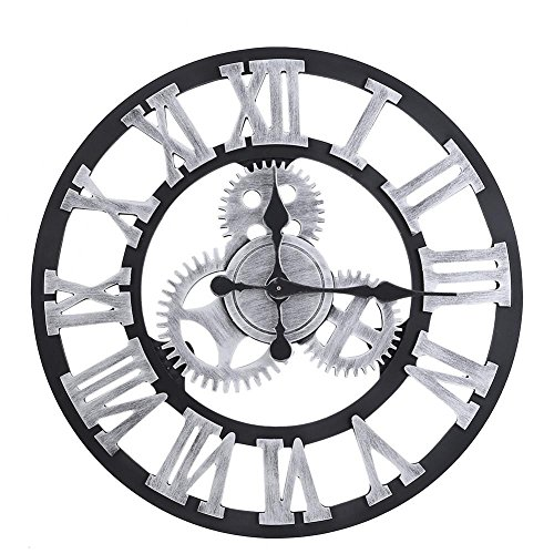 Fdit Orologio da Parete Vintage 3D, Orologio da Parete Rustico Fatto a Mano Grande Decorazione...